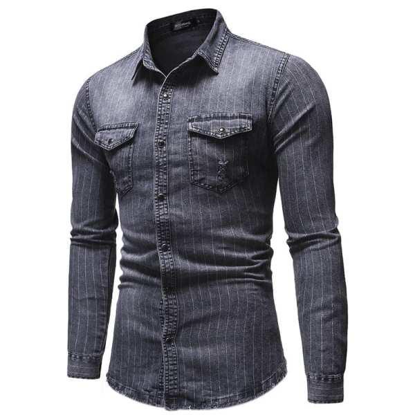 Denim shirt with stripes for men