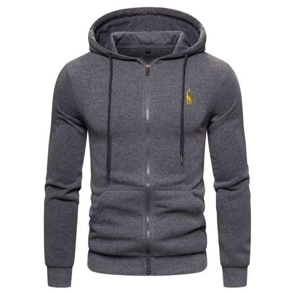 Zip-hooded sweatshirt with men's embroidery