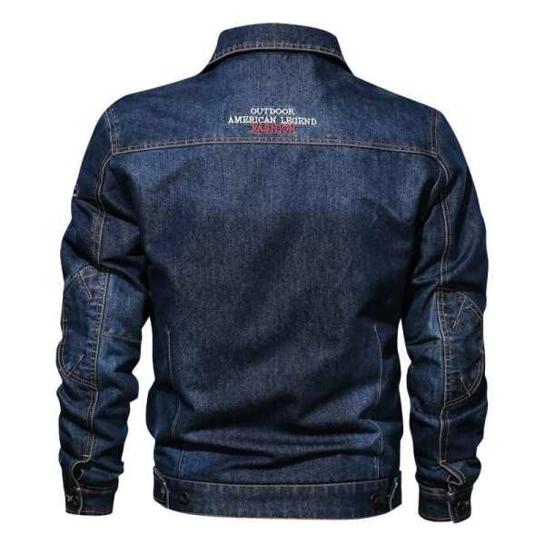 Half-season denim jacket with men's embroidery
