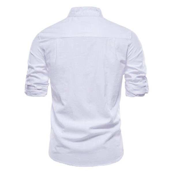 Chemise en lin et coton col montant pour hommes