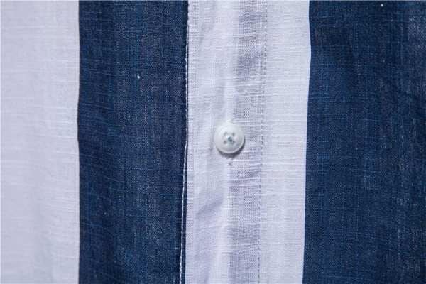 Chemise lin et coton rayé manches courtes hommes