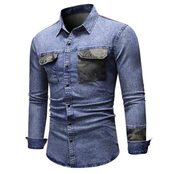 Camisa de mezclilla estilo camuflaje para hombre