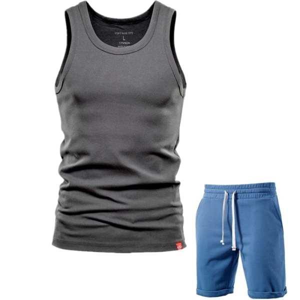 Conjunto de pantalones cortos de algodón simples para hombre