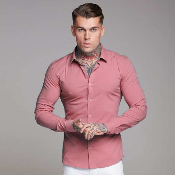 Muscle shirt fit solid color for men