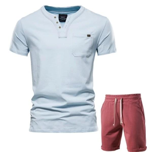 Conjunto de camiseta corta de algodón simple para hombre