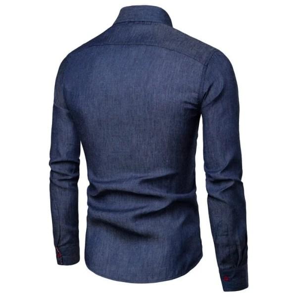 Camisa de mezclilla de manga larga para hombre