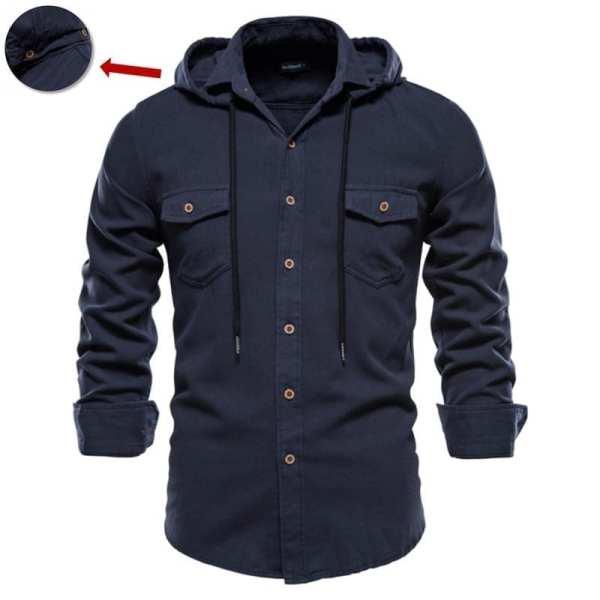 Long-sleeved shirt with men's hoods