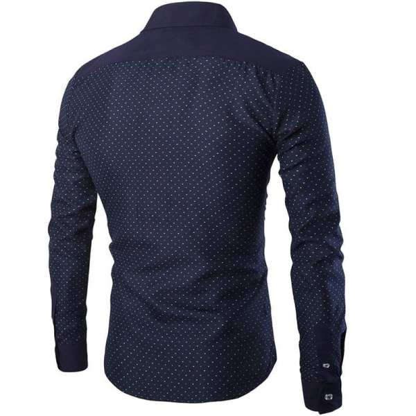 Men's long-sleeved polka dot shirt