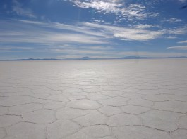 The salar: salt, and underneath, water.