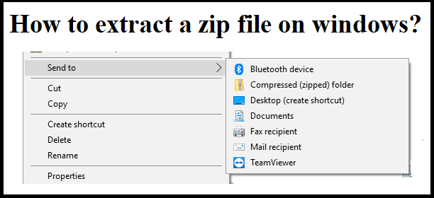 How to extract a zip file on windows