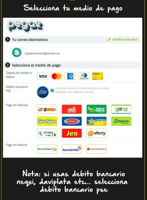 medios de pago compra stickers calcomanias