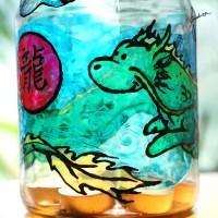 DIY Fensterfarben-Windlicht mit Drachenbild | DIY Windowcolor-lantern with Dragon