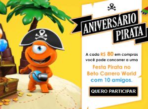 Promoção aniversário pirata PBKids Betto Carrero World