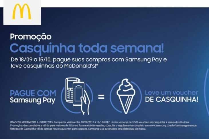 Promocao Samsung Pay Casquinha Mc Donalds