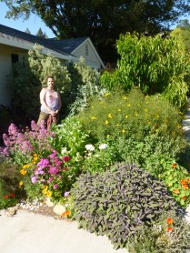 Federica in front of her cousin's magical garden, Santa Rosa, CA