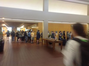 Then the line goes all the way across the lobby and down the main hallway to the reference room.