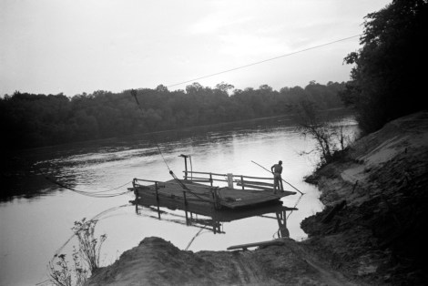 """""""Simple cable ferry, Gee's Bend, Alabama, 1939"""" by Marion Post Wolcott."""