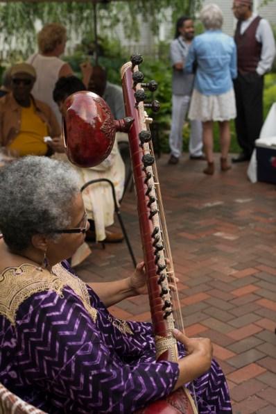 Shanta plays the Sitar