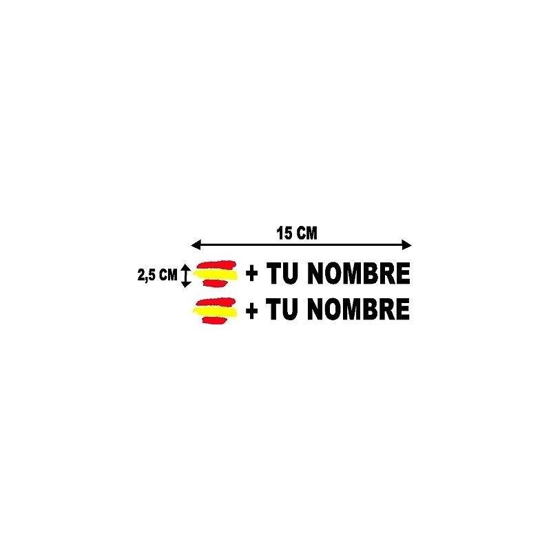 Bandera España más tu nombre pegatinas vinilos stickers