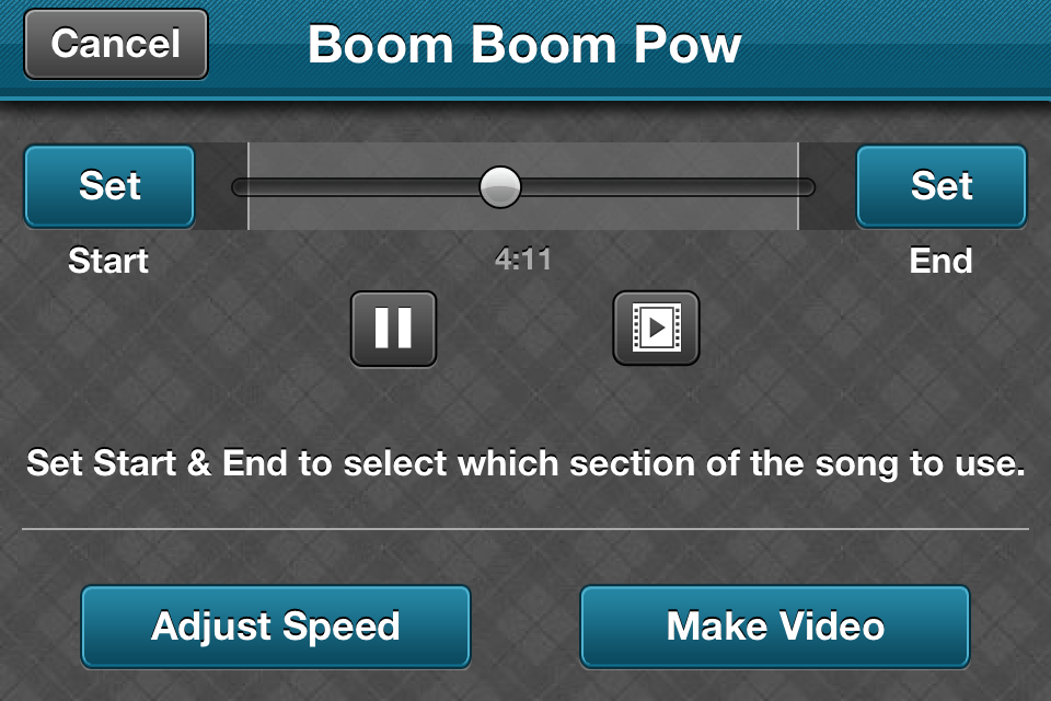 Video Star App - Song Section