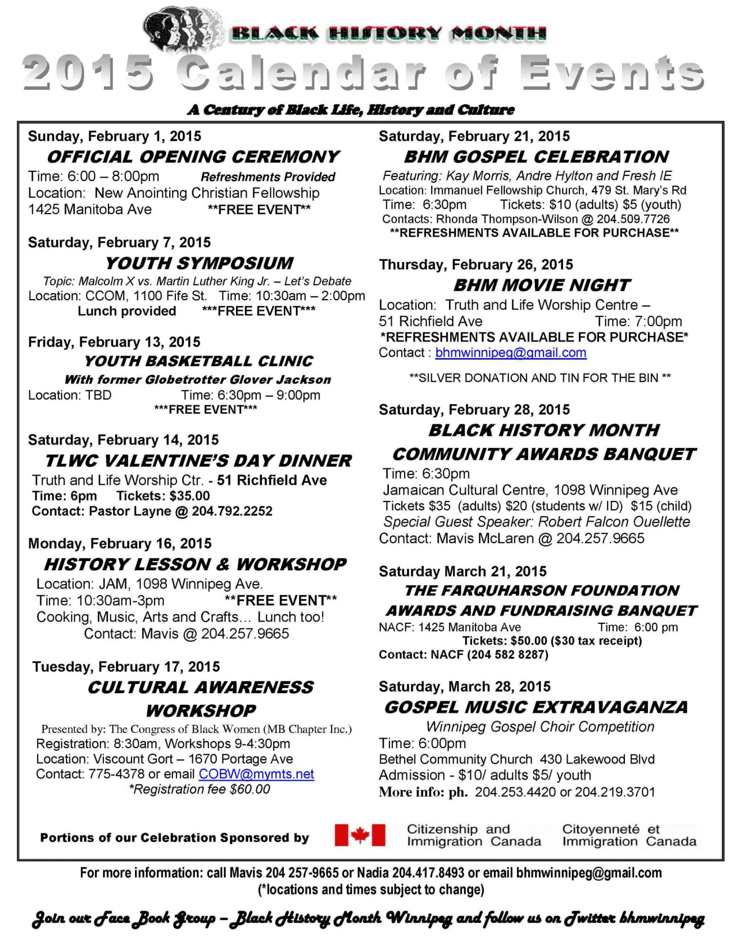 2015 Black History Month Winnipeg – Calendar of Events