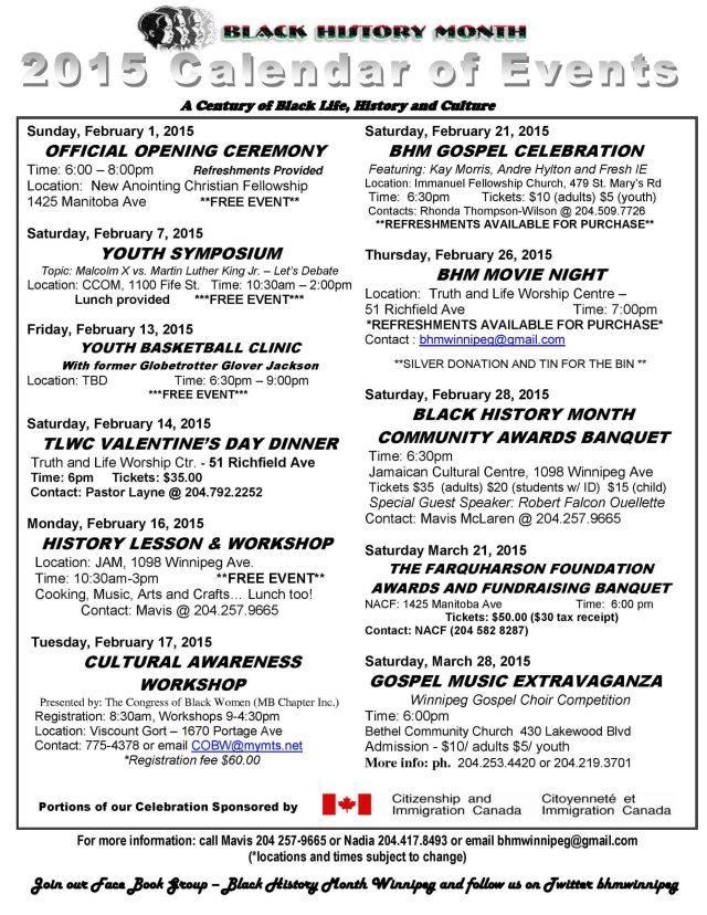 2015 Black History Month Winnipeg – Calendar of Events