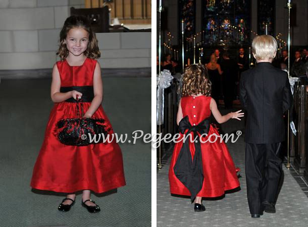 Red And Black Silk Flower Girl Dresses For Your Wedding