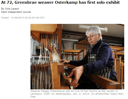 Marin Independent Journal article on weaver Peggy Osterkamp January 8, 2013