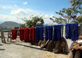 7.8 dyed yarns drying on roof
