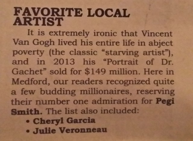 Medford Sneak Preview Poll : Image of a clipping from the Medford Sneak Peek, declaring Pegi Smith to be Southern Oregons Favorite Artist