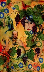 "Morning Glory, 23 x 37 Acrylic painting on canvas - Painting #8 in Pegi Smith's ""Garden Girl"" series, this painting shows a woman's face surrounded by a grape vine with grape clusters and a morning glory vine and a hummingbird sipping form the wine glass she holds, predominant gold colors with red, blue and green by contemporary fine artist Pegi Smith, Ashland, Oregon."