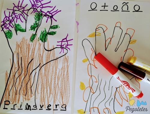 Actividades infantiles de otoño: Árboles de manos con las estaciones