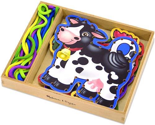 Animales de la granja para coser con una cuerda, juguetes de 3 años