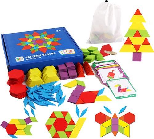 Set de formas de colores para crear conjuntos de figuras