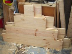 Extravagantly cut Pine end boards.