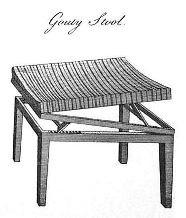 Hepplewhite's design for a 'gouty' stool, c.1788.
