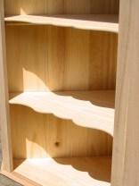 The shelves installed.