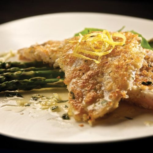 Herb-crusted Pickerel with Lemon-Basil Sauce by Chef Darryl Riddle of Le Garage Café