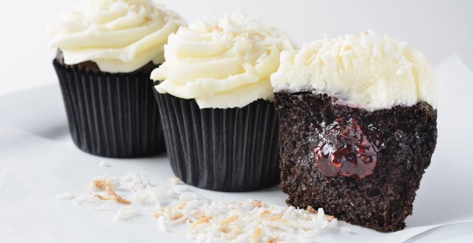 Chocolate Coconut Raspberry Cupcakes by Baker/owner Derrick Godfrey, The Cupcake Corner