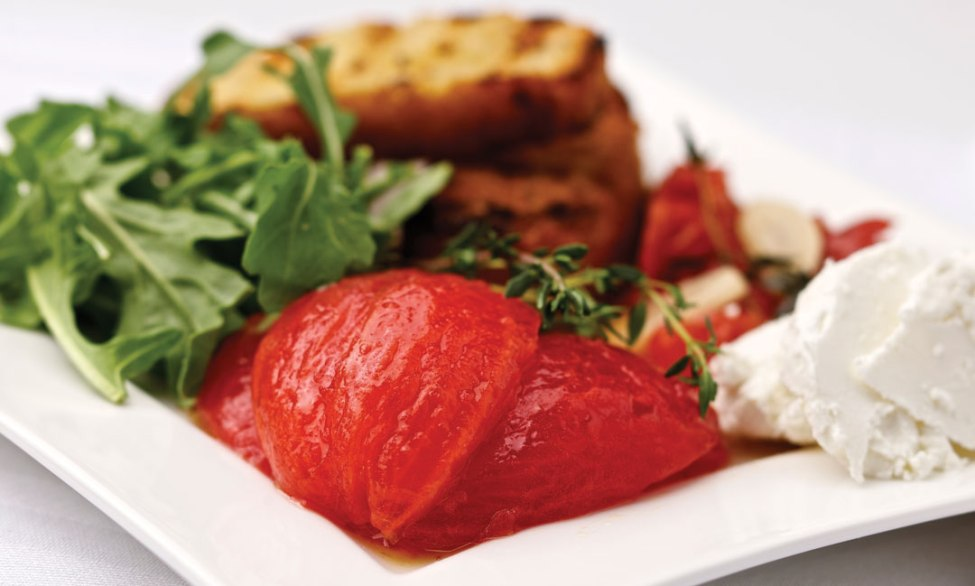 Confit and Marinated Tomatoes with Grilled Bread, Chèvre and Salad Greens by Ben Kramer, Executive Chef o