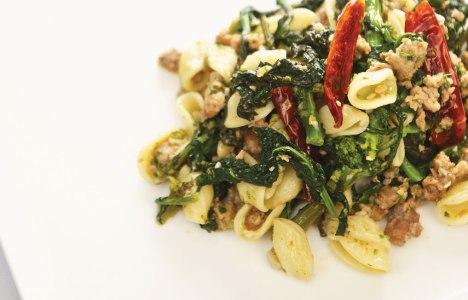 Orecchiette with Sausage and Rapini by Chef Anna Paganelli of De Luca's Cooking School