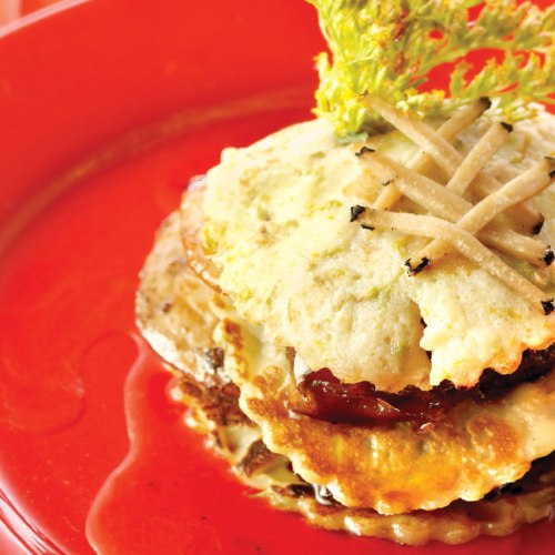 Salade au Foie Gras Napoleon with Miso Dressing by Chef/Owner Fern Kirouac of In Ferno's Bistro