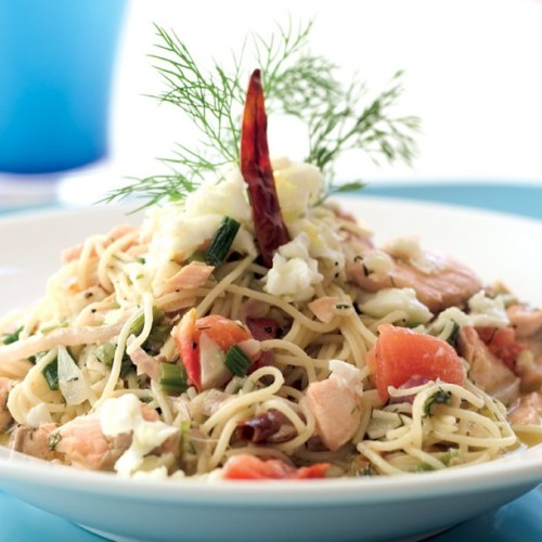 Poached Salmon Capellini in Herb and White Wine Horseradish Broth by Chef Perry Scaletta of La Scala