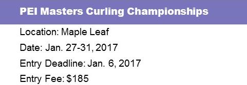 Entry Deadline: PEI Masters (60+) @ Maple Leaf Curling Club