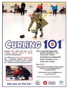 Curling 101 coming up at Cornwall, Charlottetown for area students and their parents/guardians