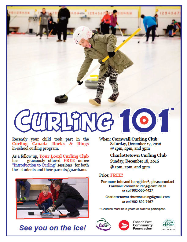 Curling 101 on-ice intro to curling for students and their parents/guardians @ Cornwall Curling Club