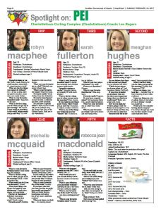 """Team PEI featured in Sunday """"HeartChart"""" at the Scotties"""