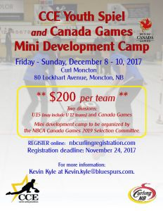 CCE Youth Spiel and Canada Games Mini-Devt Camp at Curl Moncton