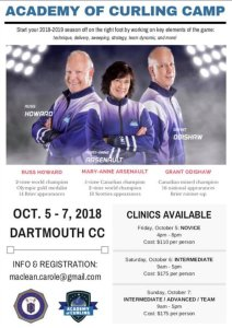 Academy of Curling Camps - early Oct. at Dartmouth Curling Club