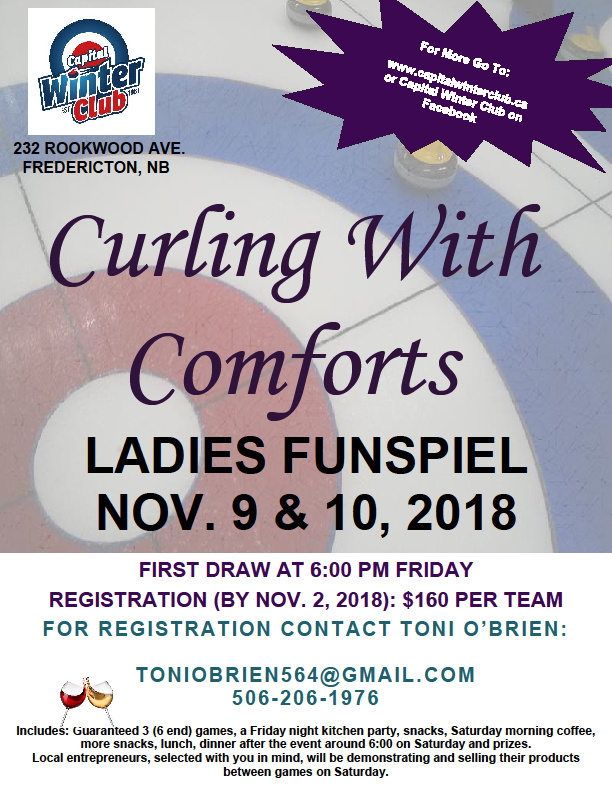 Curling with Comforts Ladies Funspiel in Fredericton NB @ Capital Winter Club